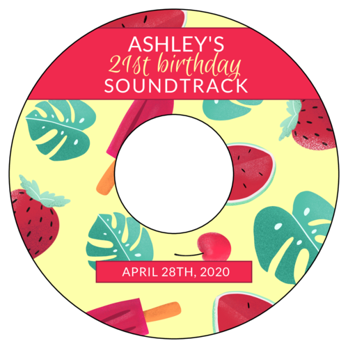 Summertime Birthday Soundtrack Favor Label