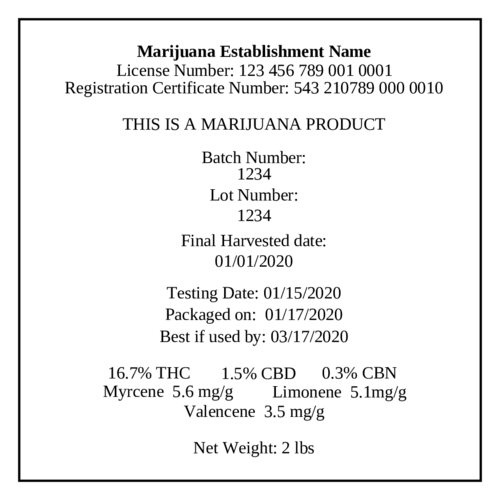 Marijuana Cannabis Cultivation Label