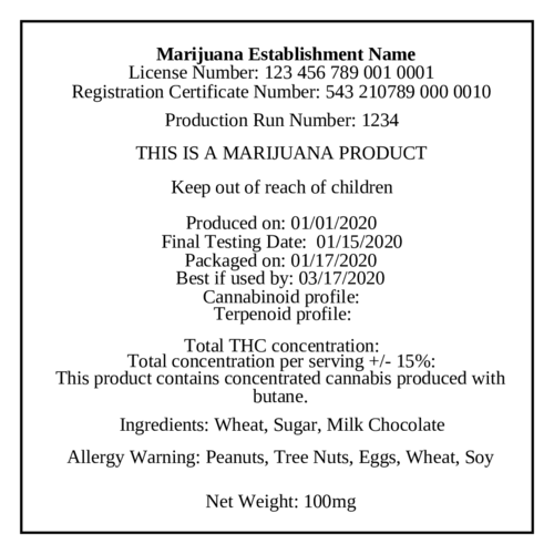 Marijuana Cannabis Production Label