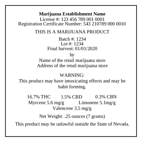 Marijuana Cannabis Flower Label