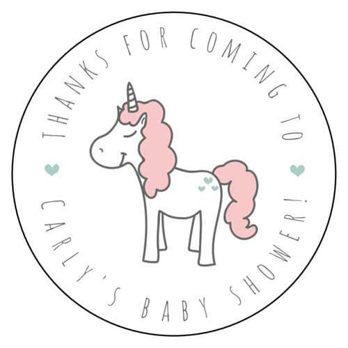 Baby Shower Unicorn Favor Label