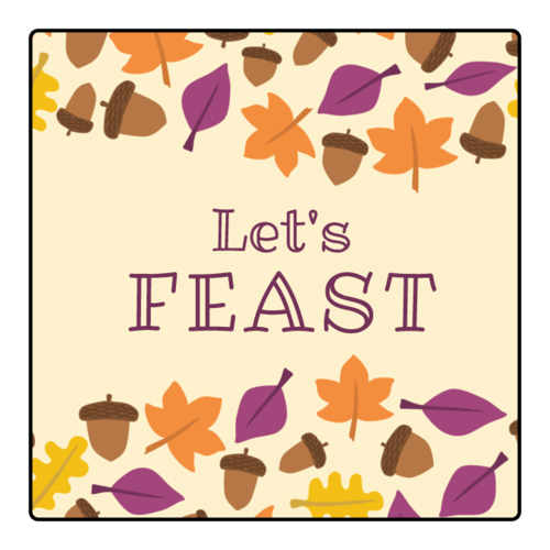 """Let's Feast"" Fall Thanksgiving Sticker"