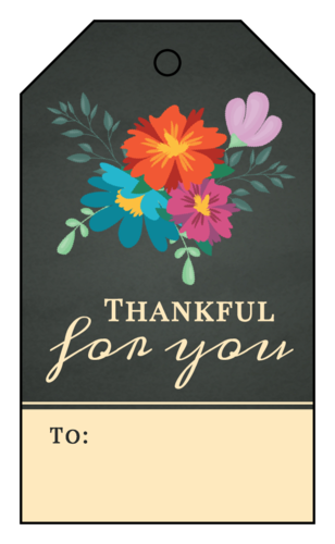 """Thankful For You"" Cardstock Gift Tag"