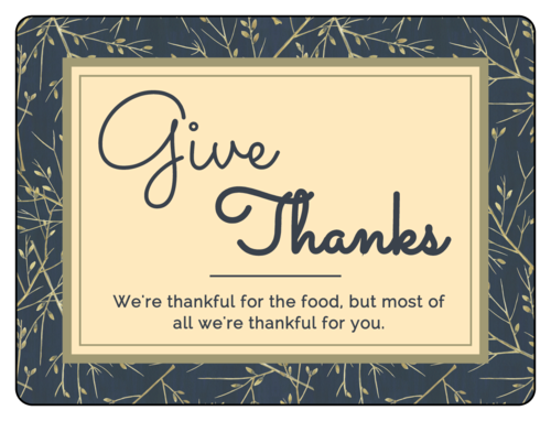 """Give Thanks"" Florid Thanksgiving Label"