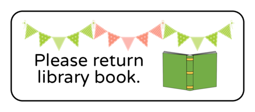 """Please Return Library Book"" Classroom Label"