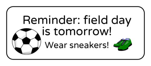"""Reminder: Field Day Is Tomorrow!"" Classroom Label"