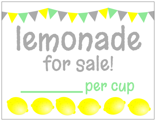 """Lemonade for sale!"" Lemonade Stand Cardstock Sign"