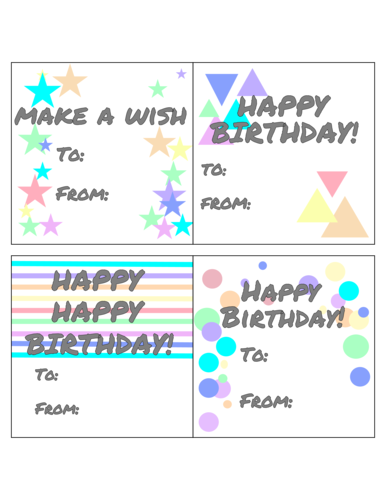 Geometric Assorted Birthday Gift Tags Printable