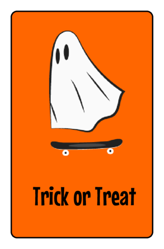 Ghost Skater Halloween Candy Wrapper