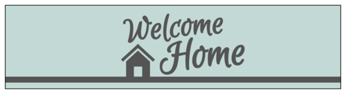 """Welcome Home"" Water Bottle Label"