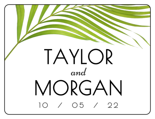 Palm Frond Wedding Bottle Labels