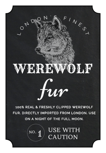Werewolf Fur Decorative Halloween Apothecary Label