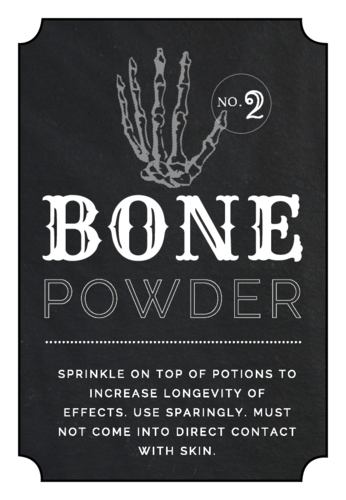 Bone Powder Decorative Halloween Apothecary Label