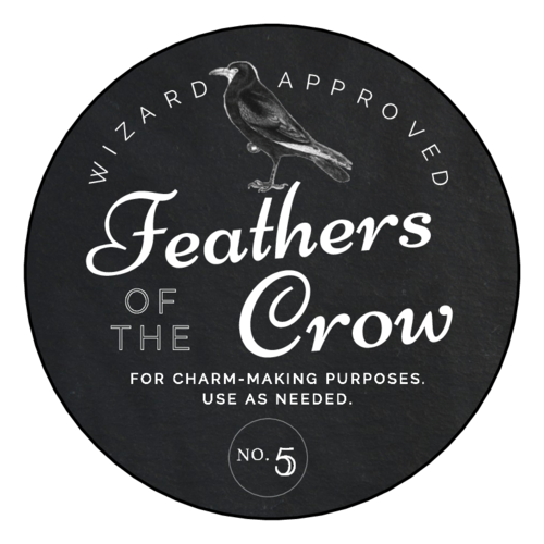 """Feathers of the Crow"" Decorative Halloween Apothecary Label"
