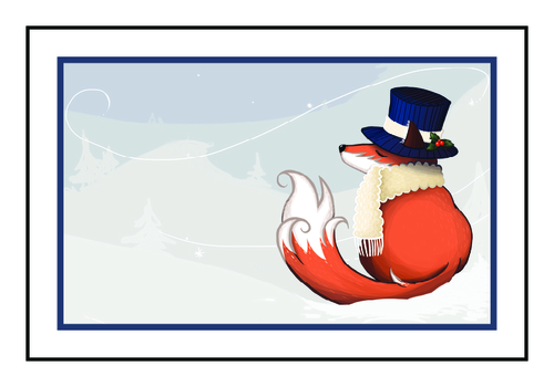 Holiday Fox Write-In Gift Tag