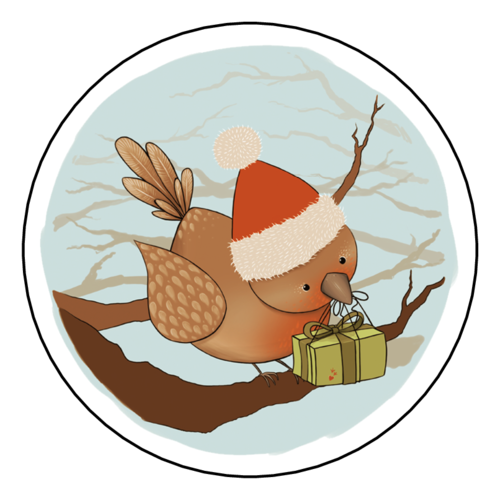 Holiday Bird Gift Label