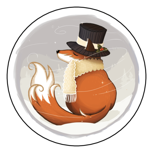 Holiday Fox Gift Label