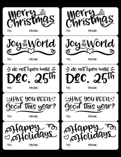 Assorted Calligraphy Christmas Gift Tags