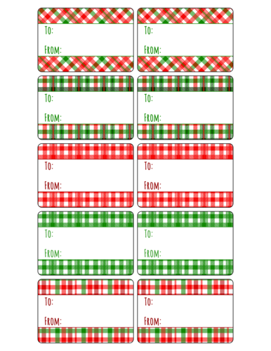 Assorted Plaid Gift Tag Label