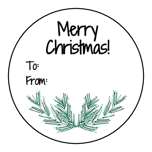 """Merry Christmas"" Pine Needle Gift Tag"