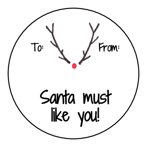 """Santa Must Like You"" Rudolph Gift Tag"