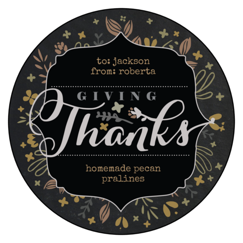 """Giving Thanks"" Fall Food Gift Label"