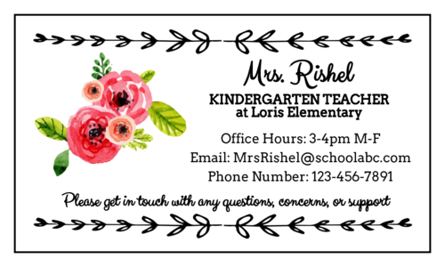 Floral Teacher Contact Magnet