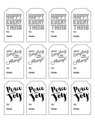 """Happy Everything"" Assorted Holiday Gift Tags Printable"