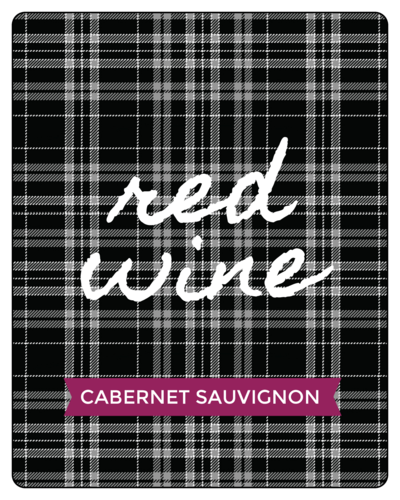 Red Wine Plaid Fall Wine Bottle Label