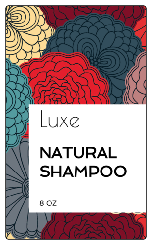 Floral Shampoo Bottle Label