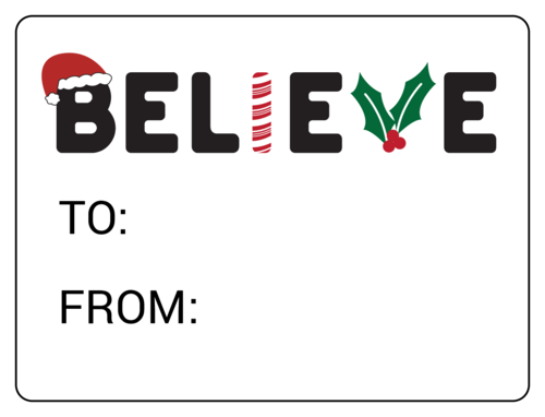 """Believe"" Christmas Gift Tag"