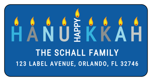 """Happy Hanukkah"" Word-Based Menorah Address Label"