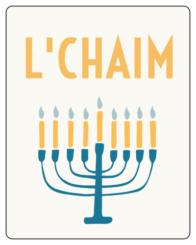 L'Chaim Hanukkah Wine Bottle Label
