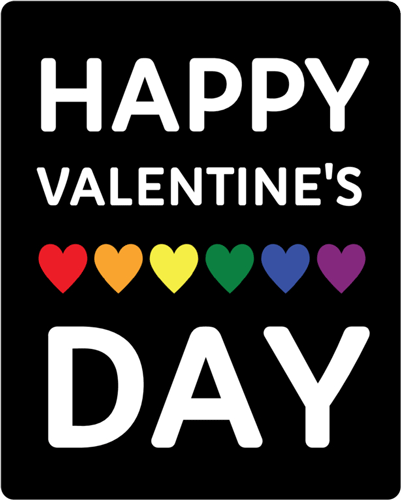 """Happy Valentine's Day"" Rainbow Heart Wine Bottle Label"