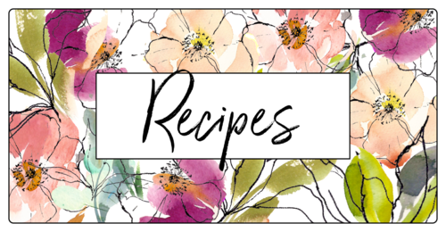 Floral Recipe Book Label