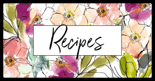 Floral Recipe Book Label