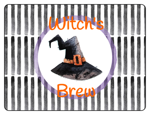 """Witch's Brew"" Halloween Bottle Label"