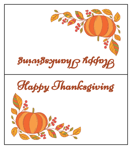 Thanksgiving Pumpkin Leaves Table Tent Card