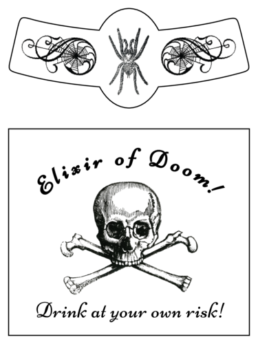 """Elixir of Doom!"" Halloween Apothecary Beer Bottle Label"