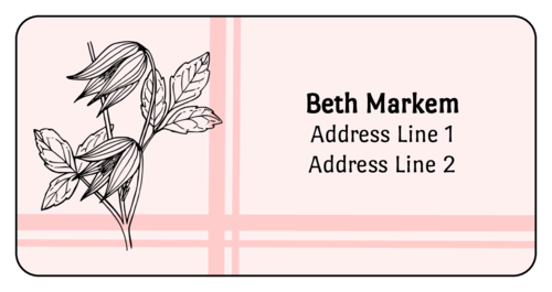 Striped Flower Address Label