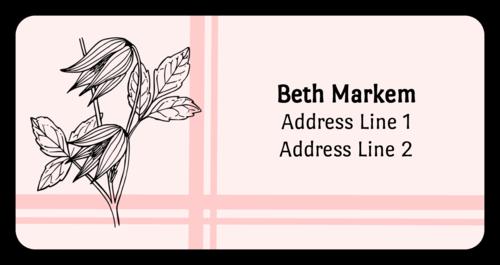 Striped Flower Address Label