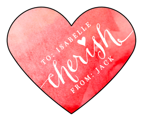 """Cherish"" Valentine's Day Heart Label"