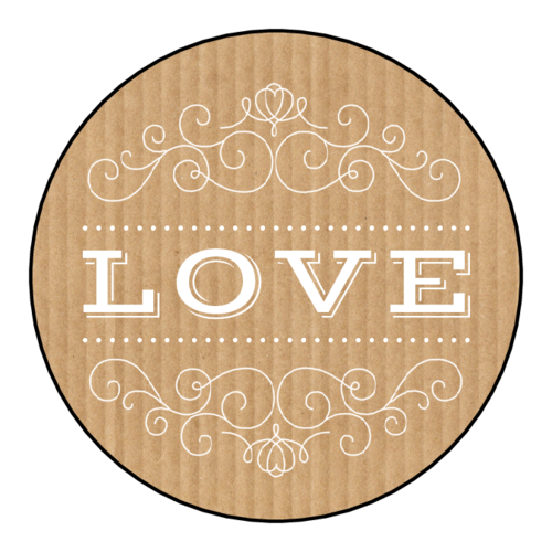 """Love"" Kraft-Style Sticker"