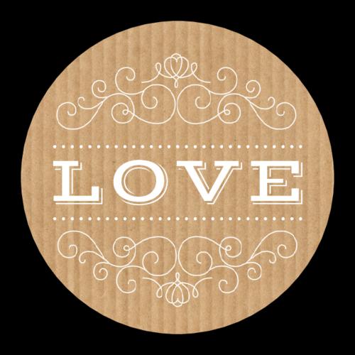 """""""Love"""" Kraft-Style Sticker"""