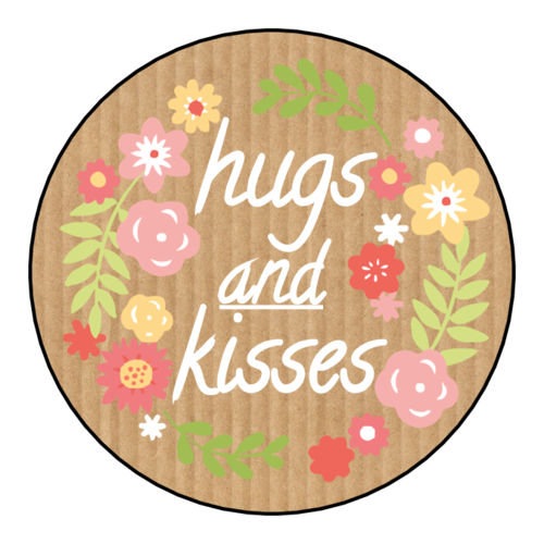 """Hugs & Kisses"" Flower Sticker"