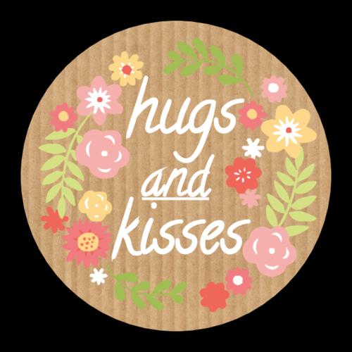 """""""Hugs & Kisses"""" Flower Sticker"""