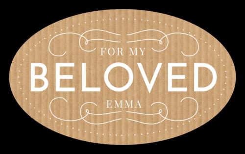"""For My Beloved"" Cardboard-Style Valentine's Day Label"