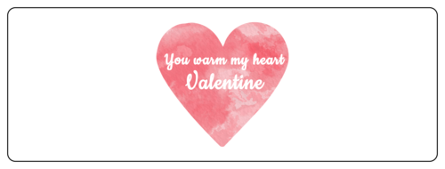 """You Warm My Heart"" Watercolor Valentine's Day Label"