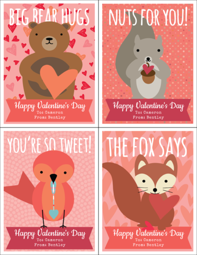 Woodland Creatures Cardstock Valentines Printable