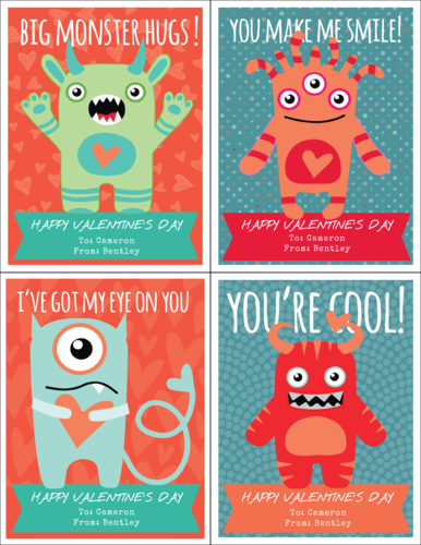 Little Monsters Cardstock Valentines Printable